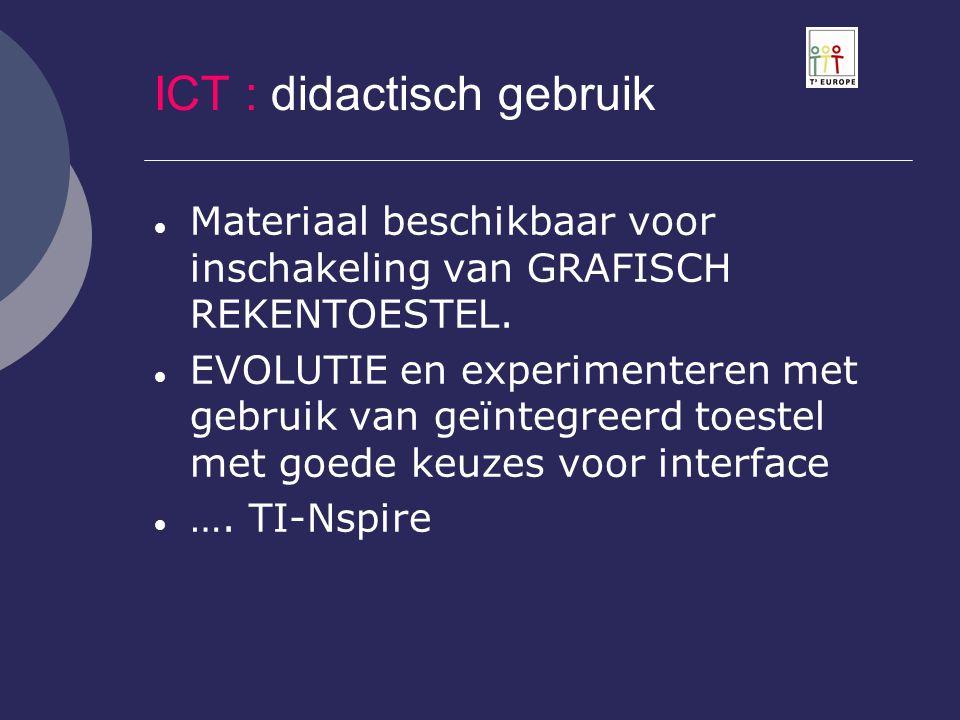 ICT : didactisch gebruik  Materiaal beschikbaar voor inschakeling van GRAFISCH REKENTOESTEL.  EVOLUTIE en experimenteren met gebruik van geïntegreer