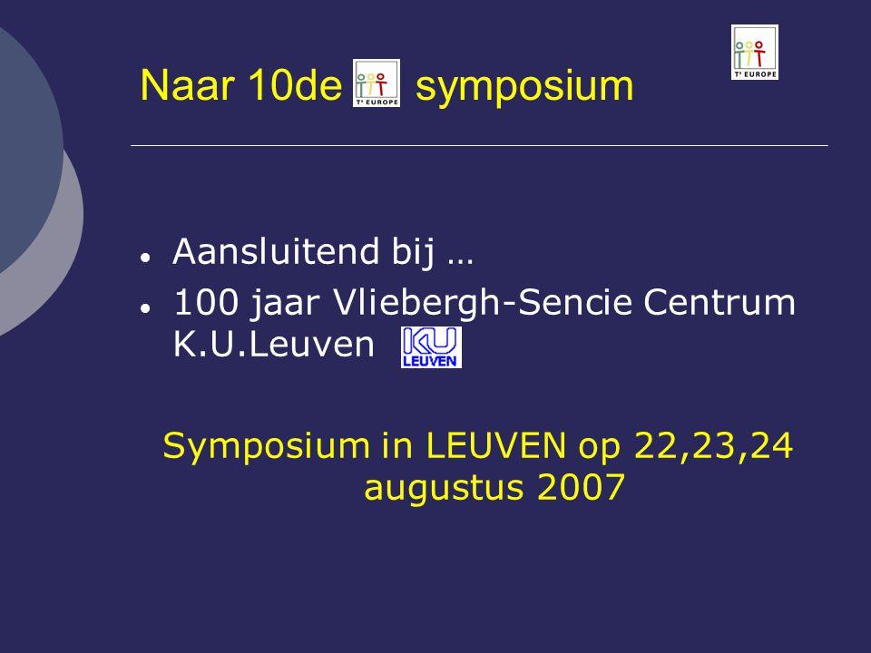 Naar 10de symposium  Aansluitend bij …  100 jaar Vliebergh-Sencie Centrum K.U.Leuven Symposium in LEUVEN op 22,23,24 augustus 2007