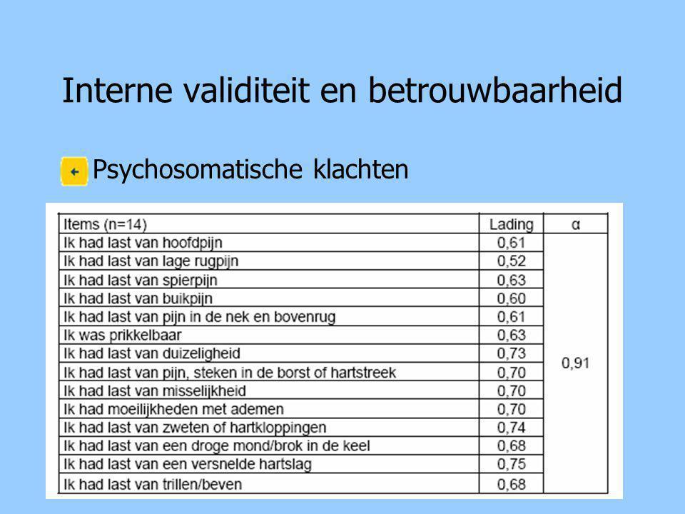 Interne validiteit en betrouwbaarheid Psychosomatische klachten