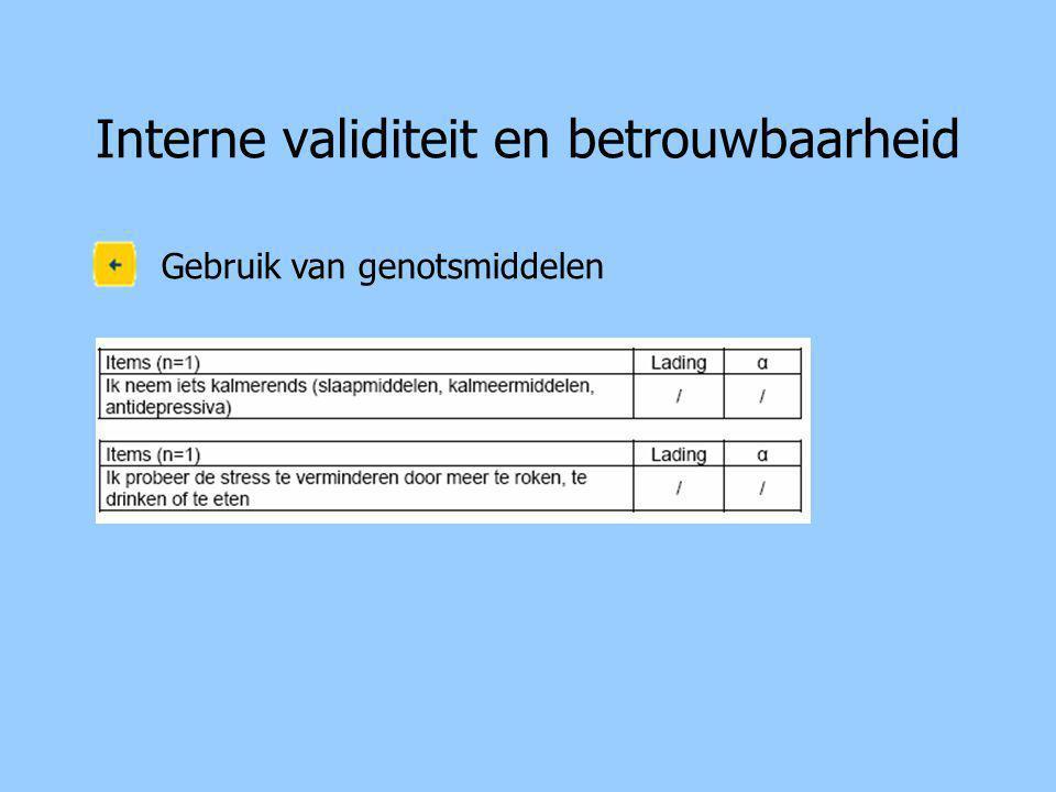 Interne validiteit en betrouwbaarheid Gebruik van genotsmiddelen