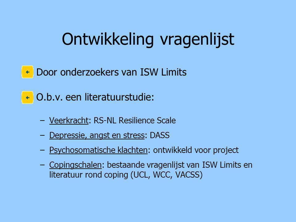 Ontwikkeling vragenlijst •Door onderzoekers van ISW Limits •O.b.v.