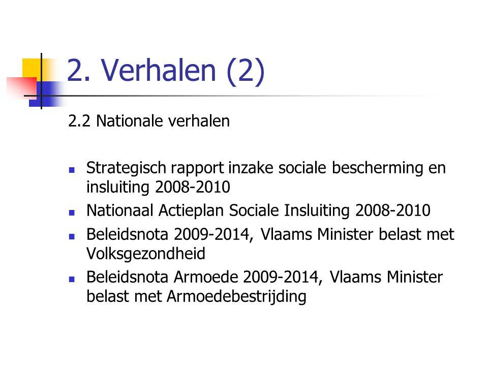 2. Verhalen (2) 2.2 Nationale verhalen  Strategisch rapport inzake sociale bescherming en insluiting 2008-2010  Nationaal Actieplan Sociale Insluiti