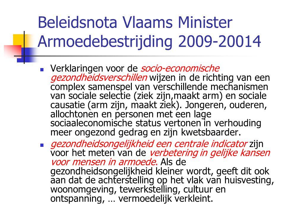 Beleidsnota Vlaams Minister Armoedebestrijding 2009-20014  Verklaringen voor de socio-economische gezondheidsverschillen wijzen in de richting van een complex samenspel van verschillende mechanismen van sociale selectie (ziek zijn,maakt arm) en sociale causatie (arm zijn, maakt ziek).