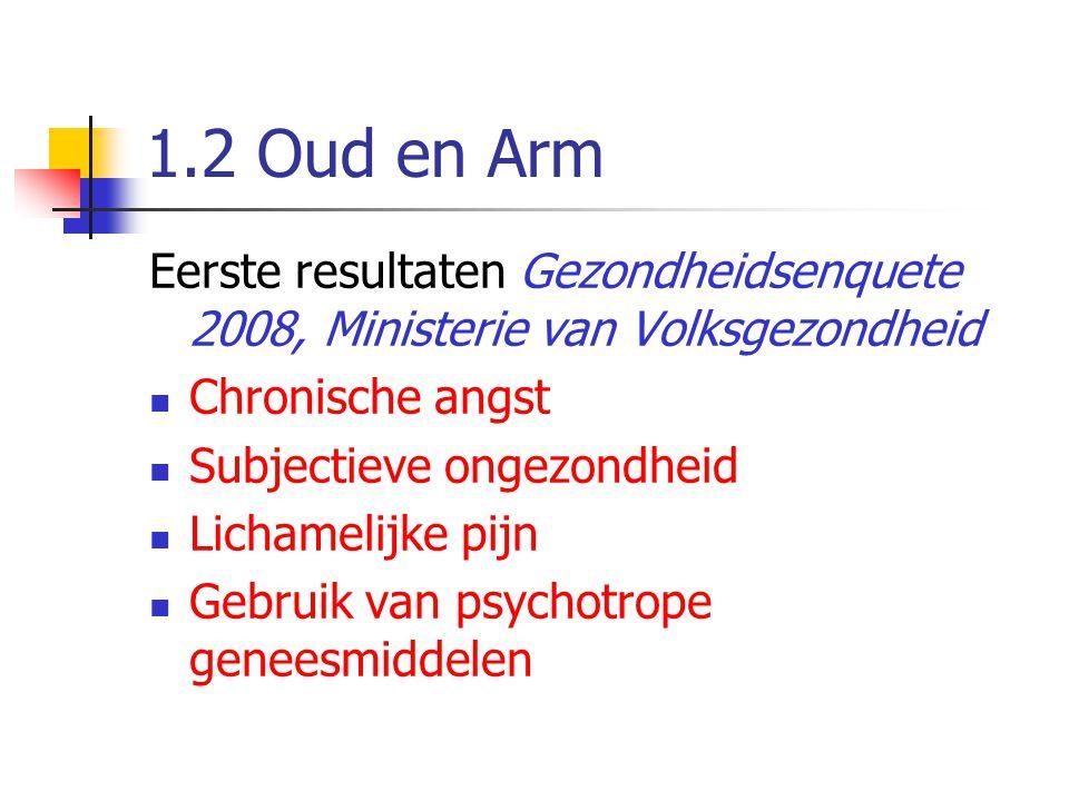 1.2 Oud en Arm Eerste resultaten Gezondheidsenquete 2008, Ministerie van Volksgezondheid  Chronische angst  Subjectieve ongezondheid  Lichamelijke
