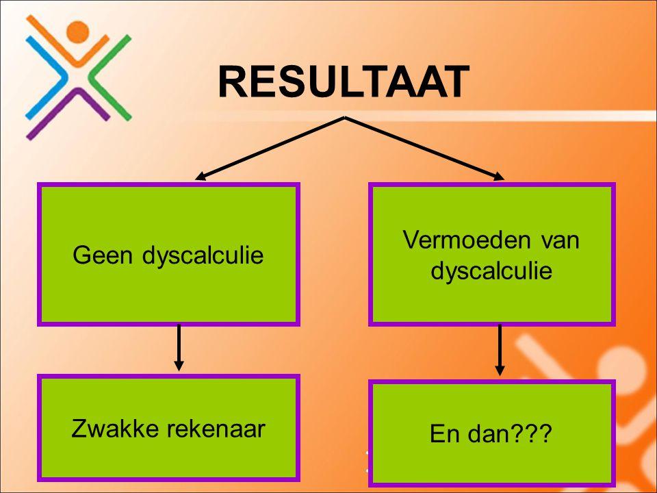 RESULTAAT Geen dyscalculie Vermoeden van dyscalculie En dan??? Zwakke rekenaar