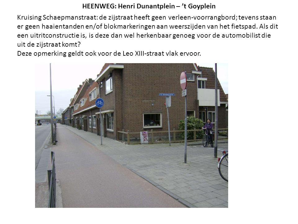 Kruising Schaepmanstraat: de zijstraat heeft geen verleen-voorrangbord; tevens staan er geen haaientanden en/of blokmarkeringen aan weerszijden van he
