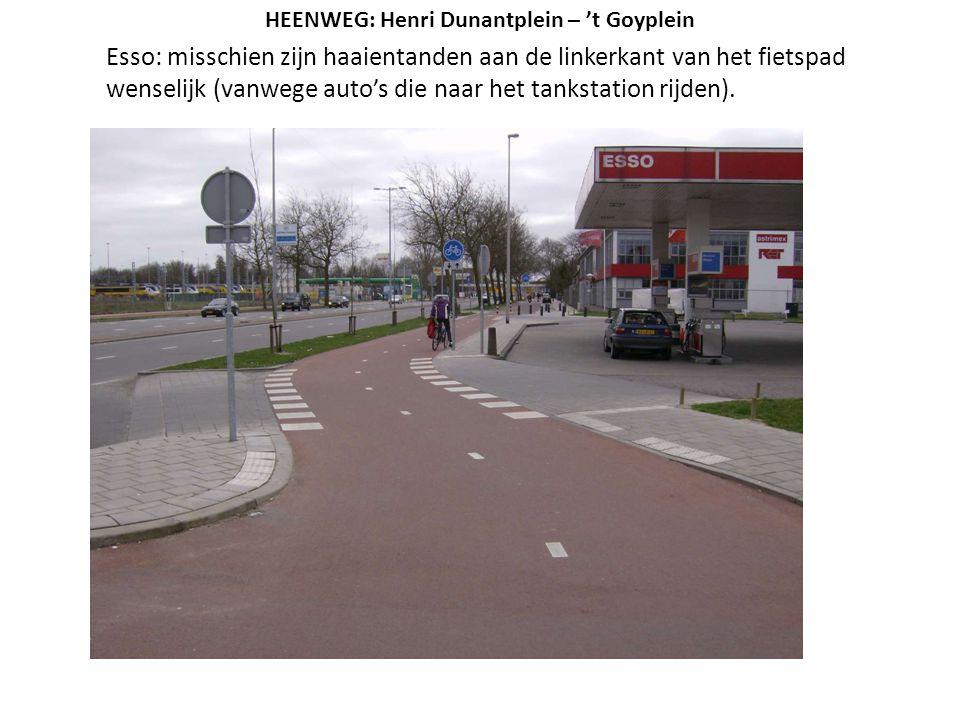 Esso: misschien zijn haaientanden aan de linkerkant van het fietspad wenselijk (vanwege auto's die naar het tankstation rijden). HEENWEG: Henri Dunant