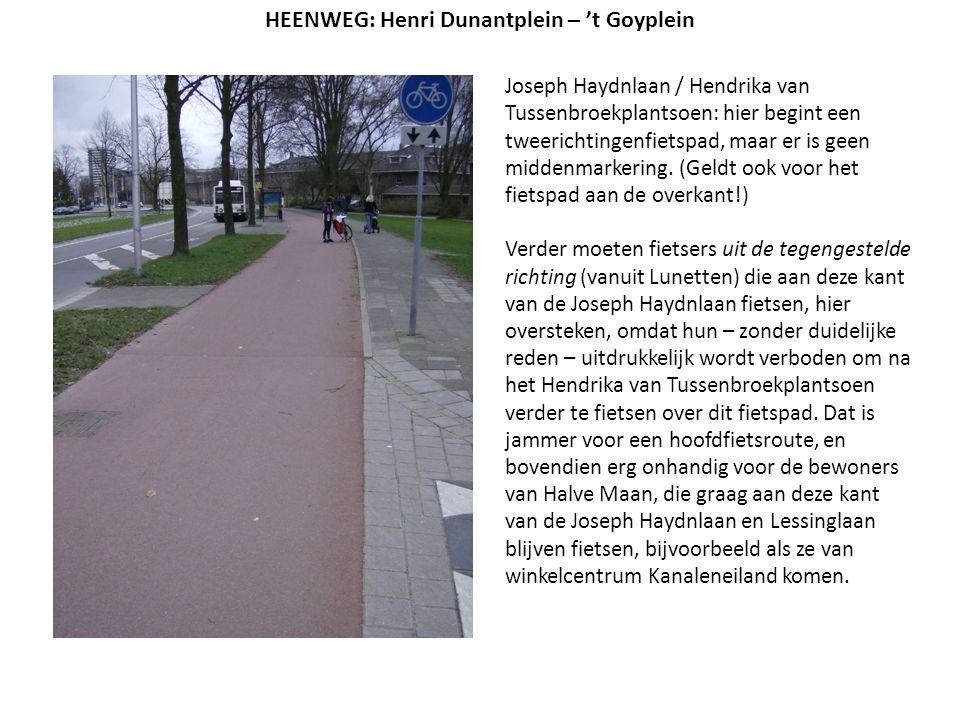 Joseph Haydnlaan / Hendrika van Tussenbroekplantsoen: hier begint een tweerichtingenfietspad, maar er is geen middenmarkering. (Geldt ook voor het fie