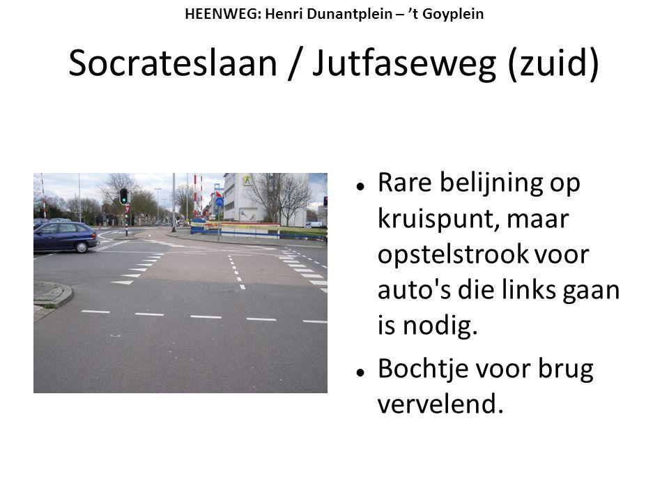 Socrateslaan / Jutfaseweg (zuid)  Rare belijning op kruispunt, maar opstelstrook voor auto's die links gaan is nodig.  Bochtje voor brug vervelend.