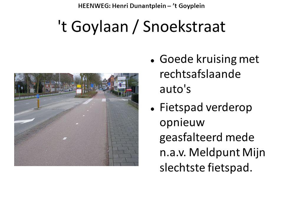 't Goylaan / Snoekstraat  Goede kruising met rechtsafslaande auto's  Fietspad verderop opnieuw geasfalteerd mede n.a.v. Meldpunt Mijn slechtste fiet