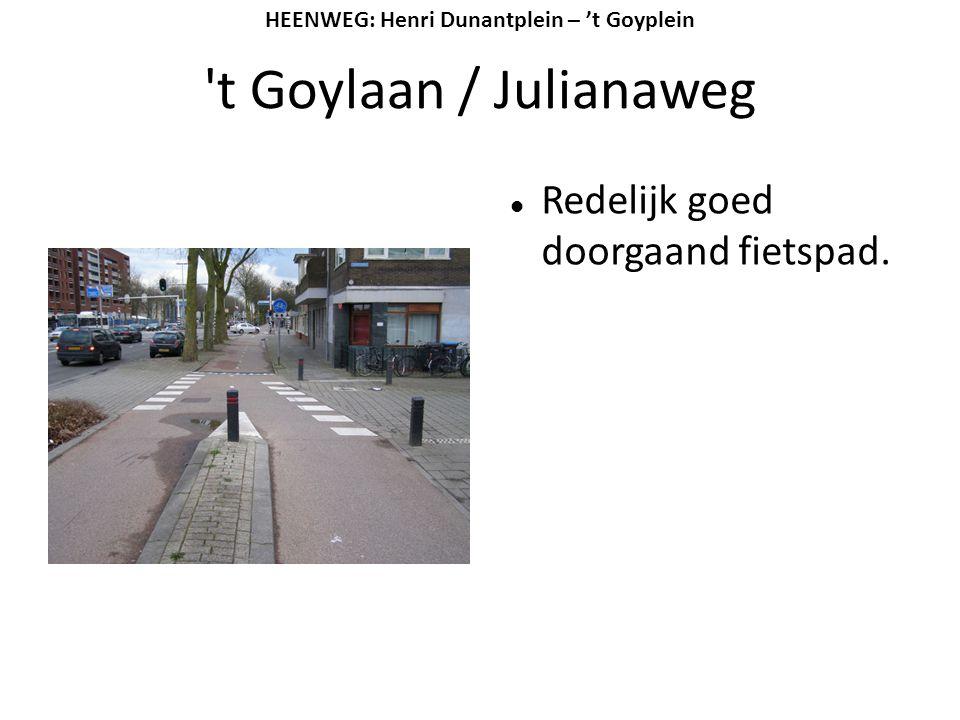 't Goylaan / Julianaweg  Redelijk goed doorgaand fietspad. HEENWEG: Henri Dunantplein – 't Goyplein
