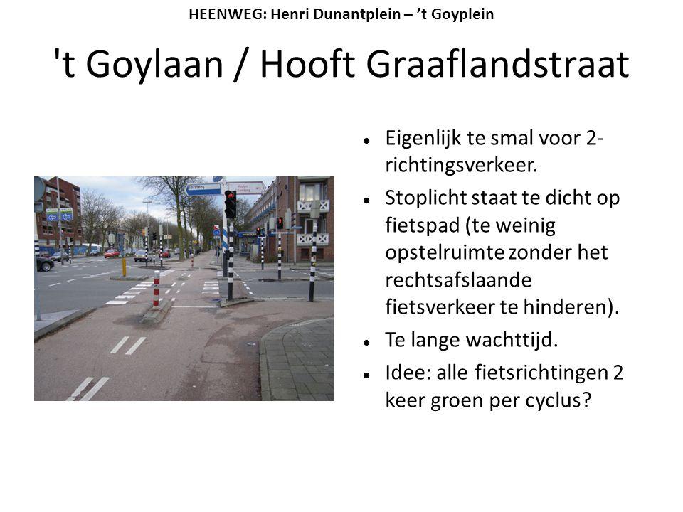 't Goylaan / Hooft Graaflandstraat  Eigenlijk te smal voor 2- richtingsverkeer.  Stoplicht staat te dicht op fietspad (te weinig opstelruimte zonder