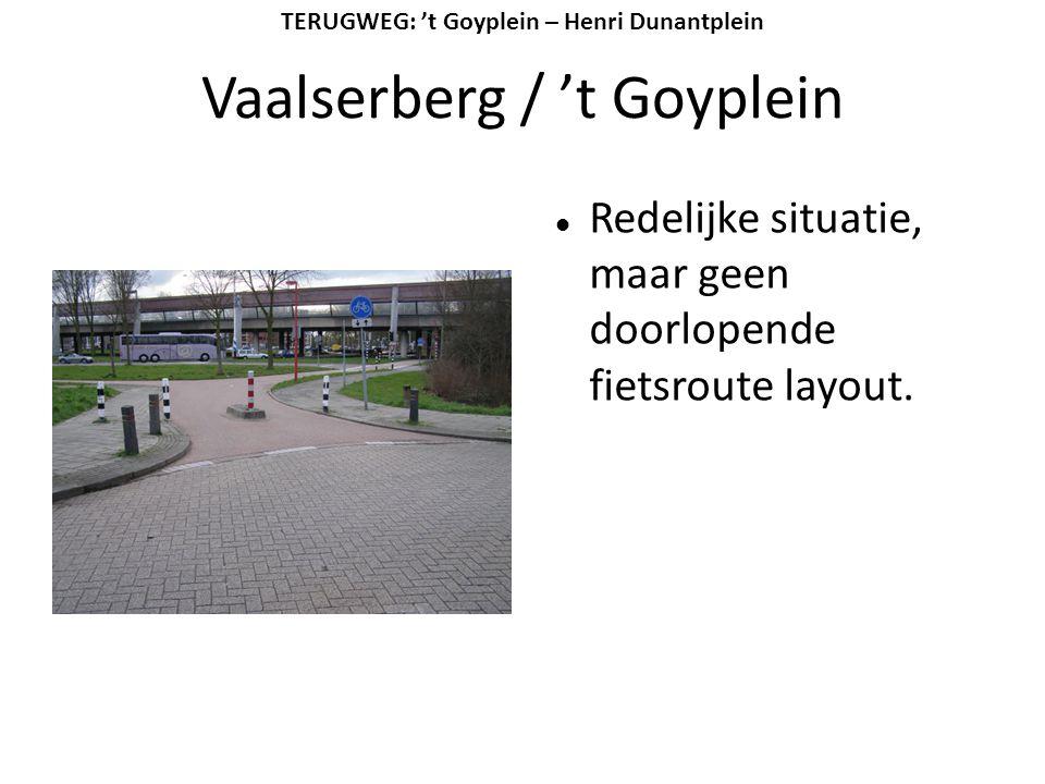 Vaalserberg / 't Goyplein  Redelijke situatie, maar geen doorlopende fietsroute layout. TERUGWEG: 't Goyplein – Henri Dunantplein