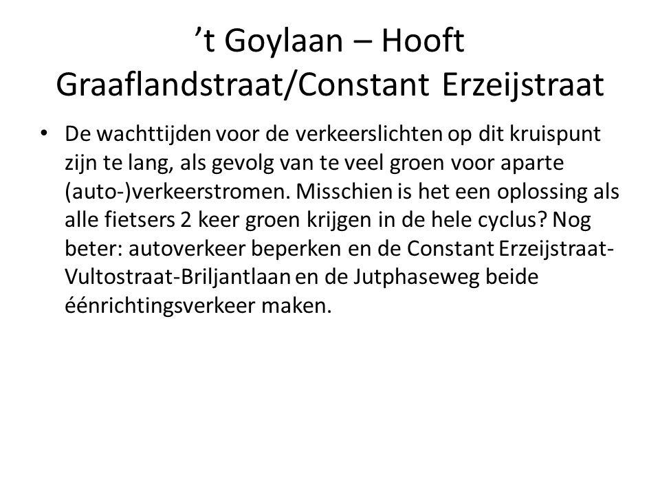 't Goylaan – Hooft Graaflandstraat/Constant Erzeijstraat • De wachttijden voor de verkeerslichten op dit kruispunt zijn te lang, als gevolg van te vee