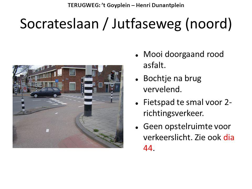 Socrateslaan / Jutfaseweg (noord)  Mooi doorgaand rood asfalt.  Bochtje na brug vervelend.  Fietspad te smal voor 2- richtingsverkeer.  Geen opste