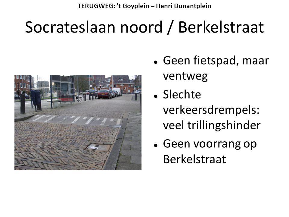 Socrateslaan noord / Berkelstraat  Geen fietspad, maar ventweg  Slechte verkeersdrempels: veel trillingshinder  Geen voorrang op Berkelstraat TERUG