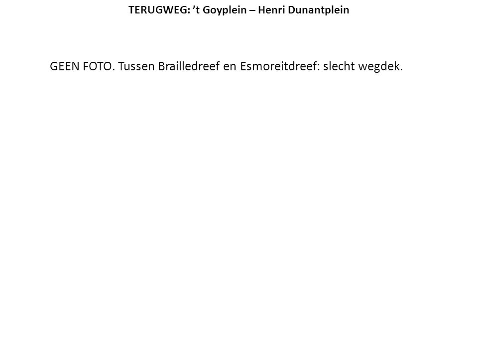 GEEN FOTO. Tussen Brailledreef en Esmoreitdreef: slecht wegdek. TERUGWEG: 't Goyplein – Henri Dunantplein