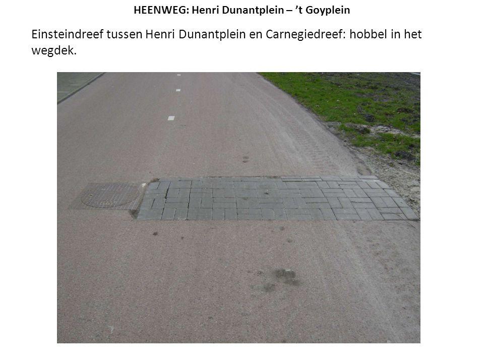 Einsteindreef tussen Henri Dunantplein en Carnegiedreef: hobbel in het wegdek. HEENWEG: Henri Dunantplein – 't Goyplein