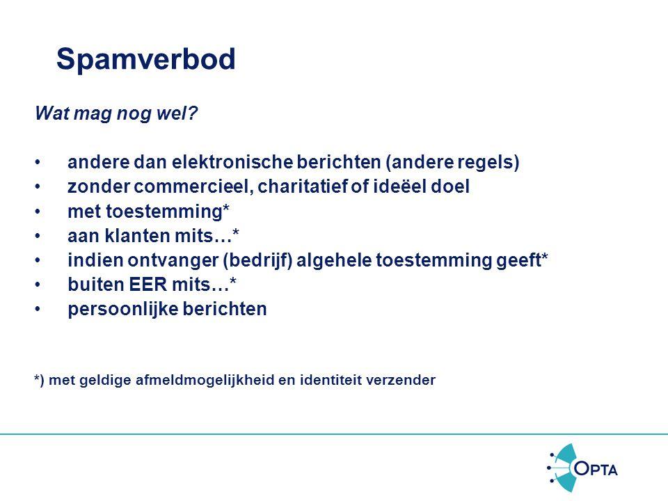 Bestanddelen spamverbod Artikel 11.7, eerste lid, Telecommunicatiewet Het gebruik van automatische oproepsystemen zonder menselijke tussenkomst, faxen