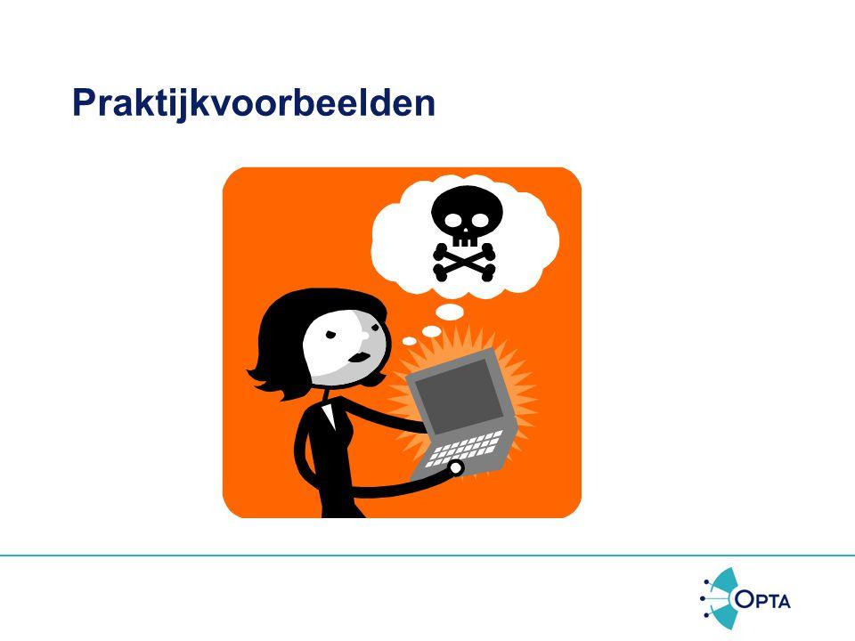 """Hoe handhaven •Bestuursrechtelijke aanpak, geen strafrecht –Boetes (450.000 euro max.) en lasten (""""gij zult niet meer spammen/spyware verspreiden/etc."""
