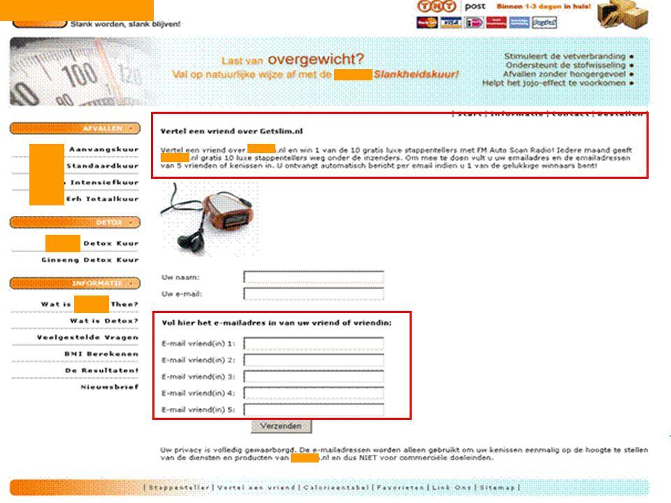 Tell-a-friend (viral marketing) De mogelijkheid voor een internetgebruiker om via een website een bekende op de hoogte te stellen van een bepaalde boo