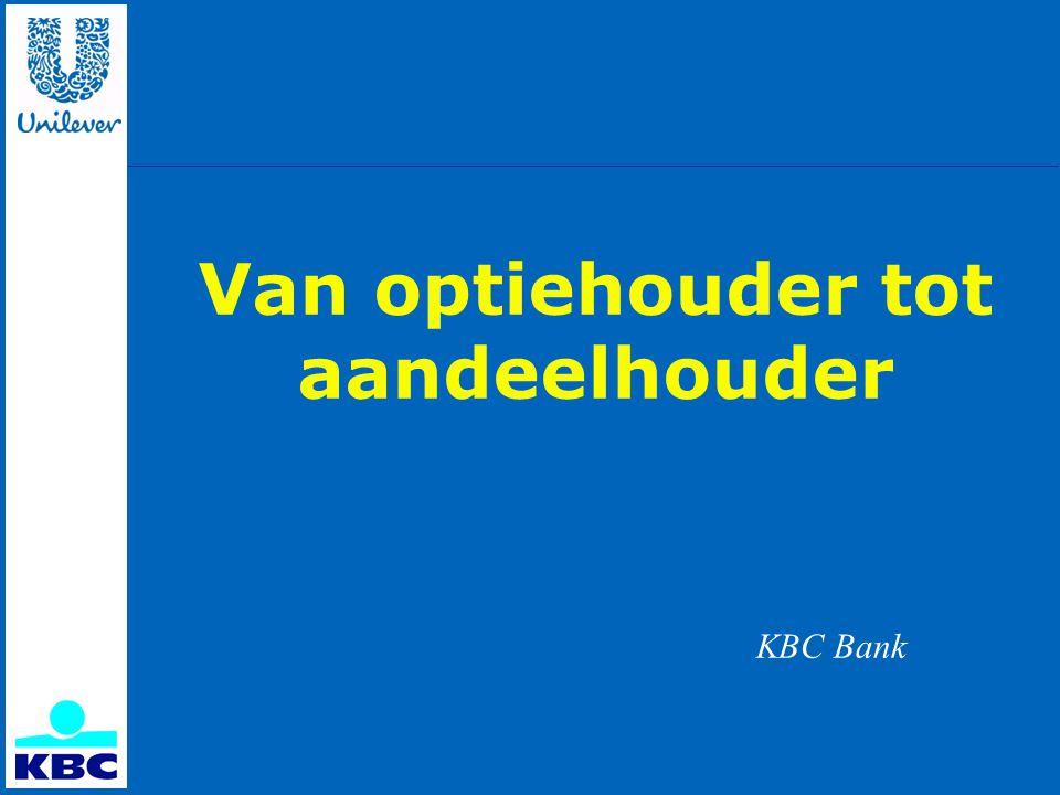 Uitoefenen van uw opties De brief van KBC omvat: 1.