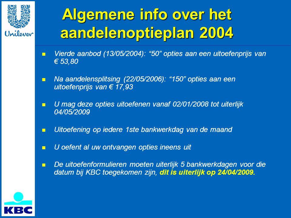Algemene info over het aandelenoptieplan 2004  Vierde aanbod (13/05/2004): 50 opties aan een uitoefenprijs van € 53,80  Na aandelensplitsing (22/05/2006): 150 opties aan een uitoefenprijs van € 17,93  U mag deze opties uitoefenen vanaf 02/01/2008 tot uiterlijk 04/05/2009  Uitoefening op iedere 1ste bankwerkdag van de maand  U oefent al uw ontvangen opties ineens uit  De uitoefenformulieren moeten uiterlijk 5 bankwerkdagen voor die datum bij KBC toegekomen zijn, dit is uiterlijk op 24/04/2009.