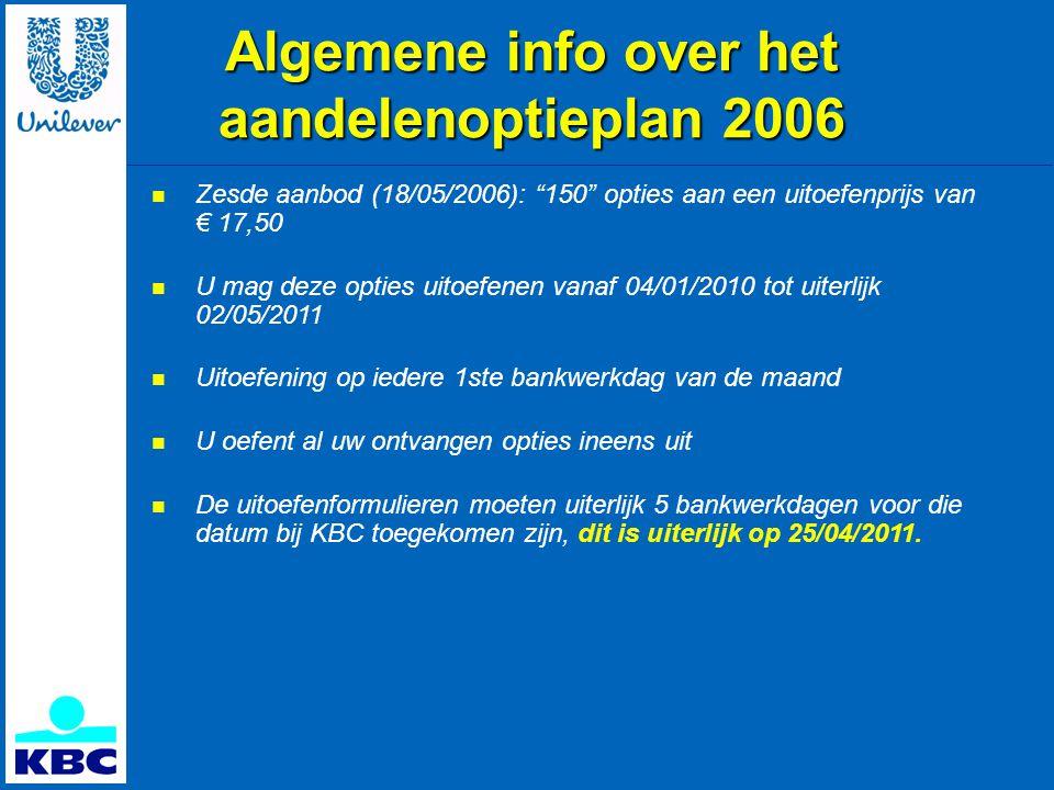 Algemene info over het aandelenoptieplan 2006  Zesde aanbod (18/05/2006): 150 opties aan een uitoefenprijs van € 17,50  U mag deze opties uitoefenen vanaf 04/01/2010 tot uiterlijk 02/05/2011  Uitoefening op iedere 1ste bankwerkdag van de maand  U oefent al uw ontvangen opties ineens uit  De uitoefenformulieren moeten uiterlijk 5 bankwerkdagen voor die datum bij KBC toegekomen zijn, dit is uiterlijk op 25/04/2011.