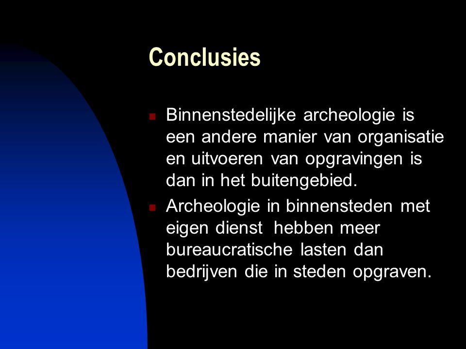 Conclusies  Binnenstedelijke archeologie is een andere manier van organisatie en uitvoeren van opgravingen is dan in het buitengebied.