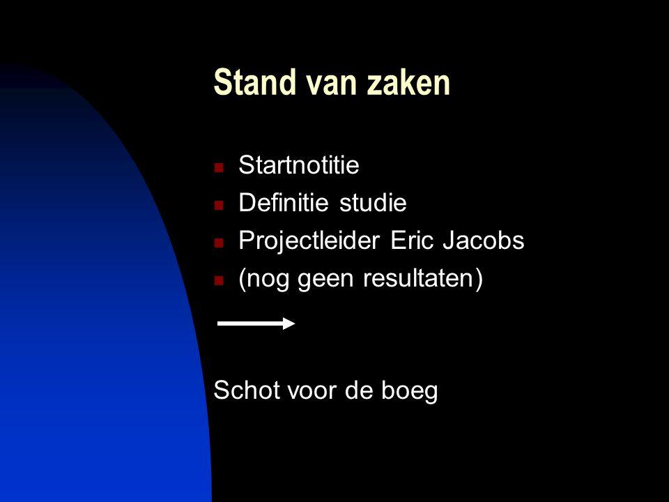 Stand van zaken  Startnotitie  Definitie studie  Projectleider Eric Jacobs  (nog geen resultaten) Schot voor de boeg