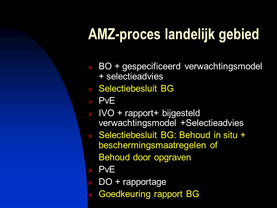 AMZ-proces landelijk gebied  BO + gespecificeerd verwachtingsmodel + selectieadvies  Selectiebesluit BG  PvE  IVO + rapport+ bijgesteld verwachtingsmodel +Selectieadvies  Selectiebesluit BG: Behoud in situ + beschermingsmaatregelen of Behoud door opgraven  PvE  DO + rapportage  Goedkeuring rapport BG