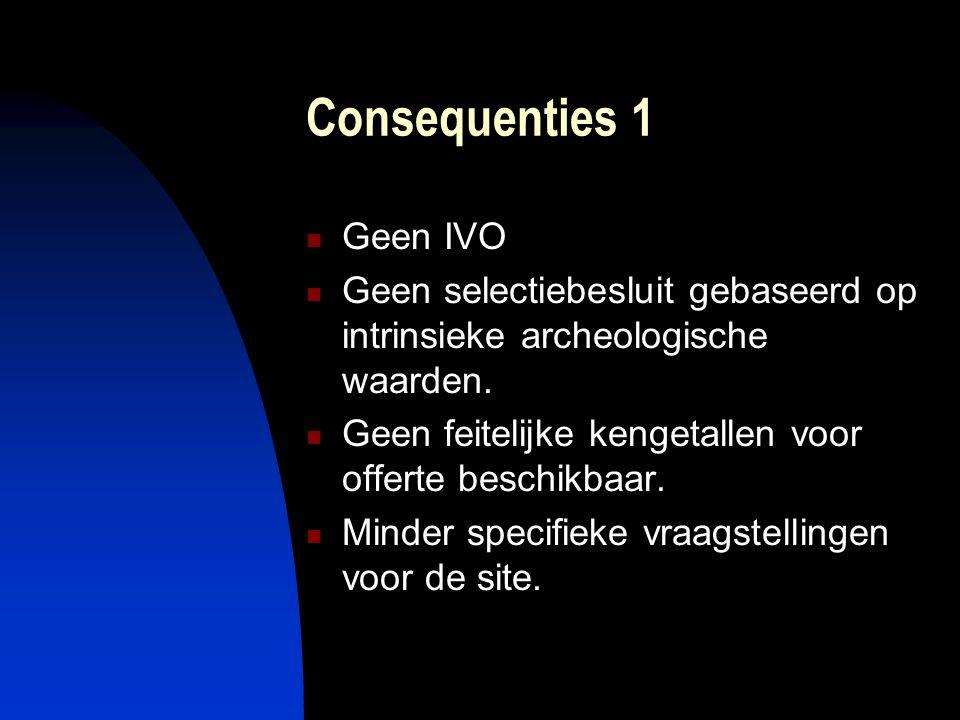 Consequenties 2  Onvoorspelbaarheid bodemarchief  Reactiesnelheid geboden  Lokale expertise noodzakelijk