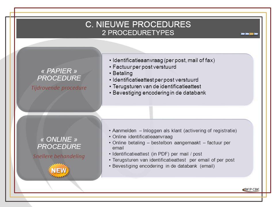 C. NIEUWE PROCEDURES 2 PROCEDURETYPES •Identificatieaanvraag (per post, mail of fax) •Factuur per post verstuurd •Betaling •Identificatieattest per po