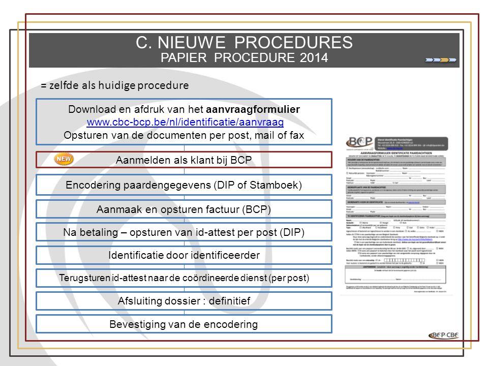 C. NIEUWE PROCEDURES PAPIER PROCEDURE 2014 Download en afdruk van het aanvraagformulier www.cbc-bcp.be/nl/identificatie/aanvraag Opsturen van de docum