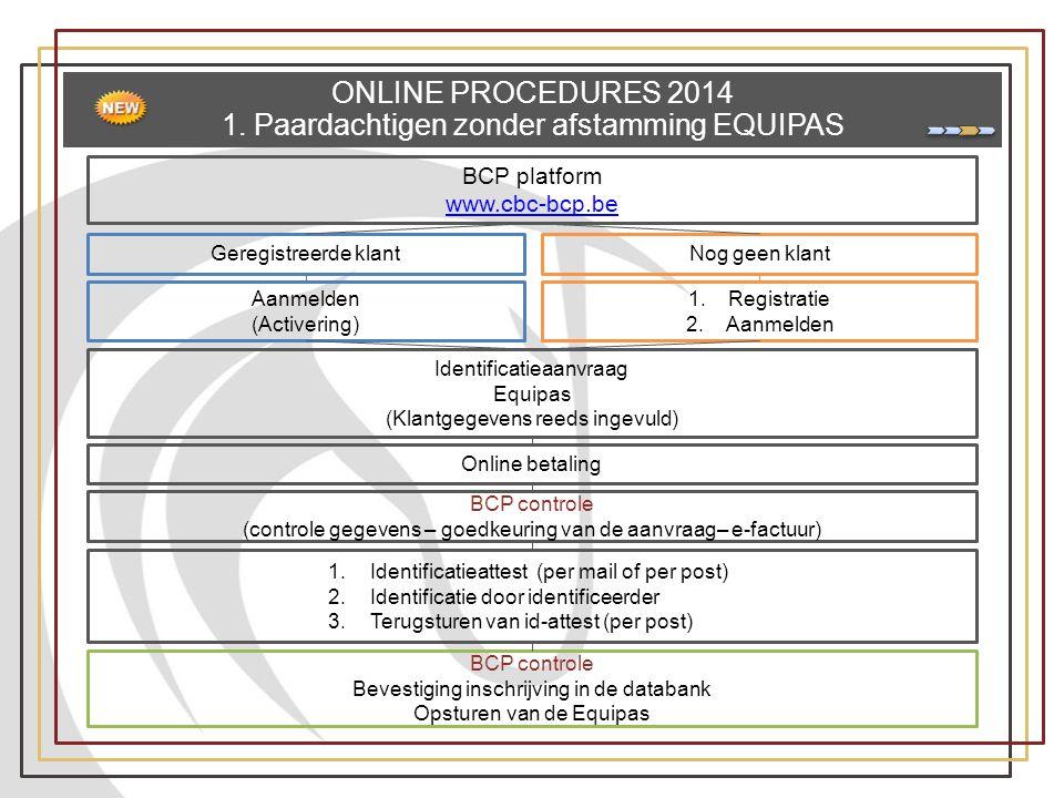 ONLINE PROCEDURES 2014 1. Paardachtigen zonder afstamming EQUIPAS Geregistreerde klantNog geen klant Aanmelden (Activering) BCP platform www.cbc-bcp.b