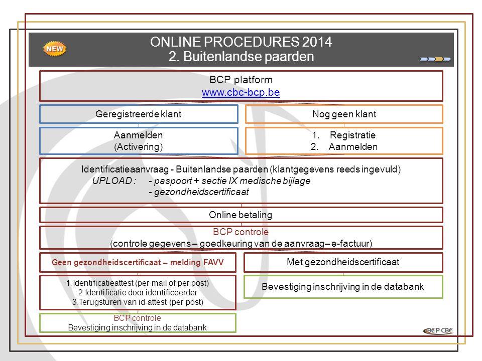 ONLINE PROCEDURES 2014 2. Buitenlandse paarden BCP platform www.cbc-bcp.be Geregistreerde klantNog geen klant Aanmelden (Activering) 1.Registratie 2.A