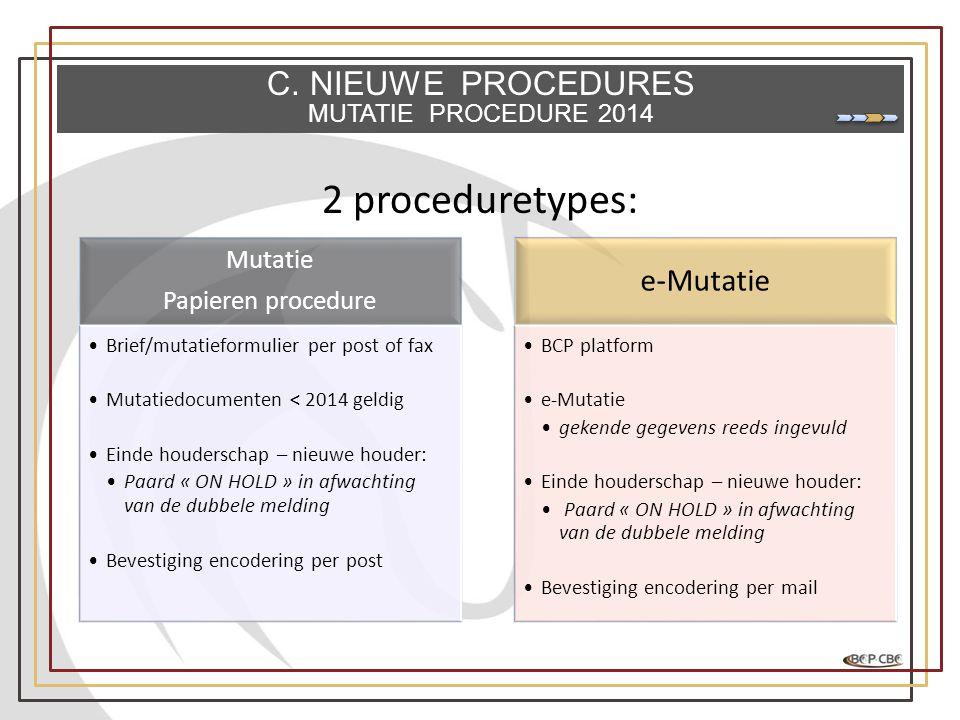 2 proceduretypes: Mutatie Papieren procedure •Brief/mutatieformulier per post of fax •Mutatiedocumenten < 2014 geldig •Einde houderschap – nieuwe houd