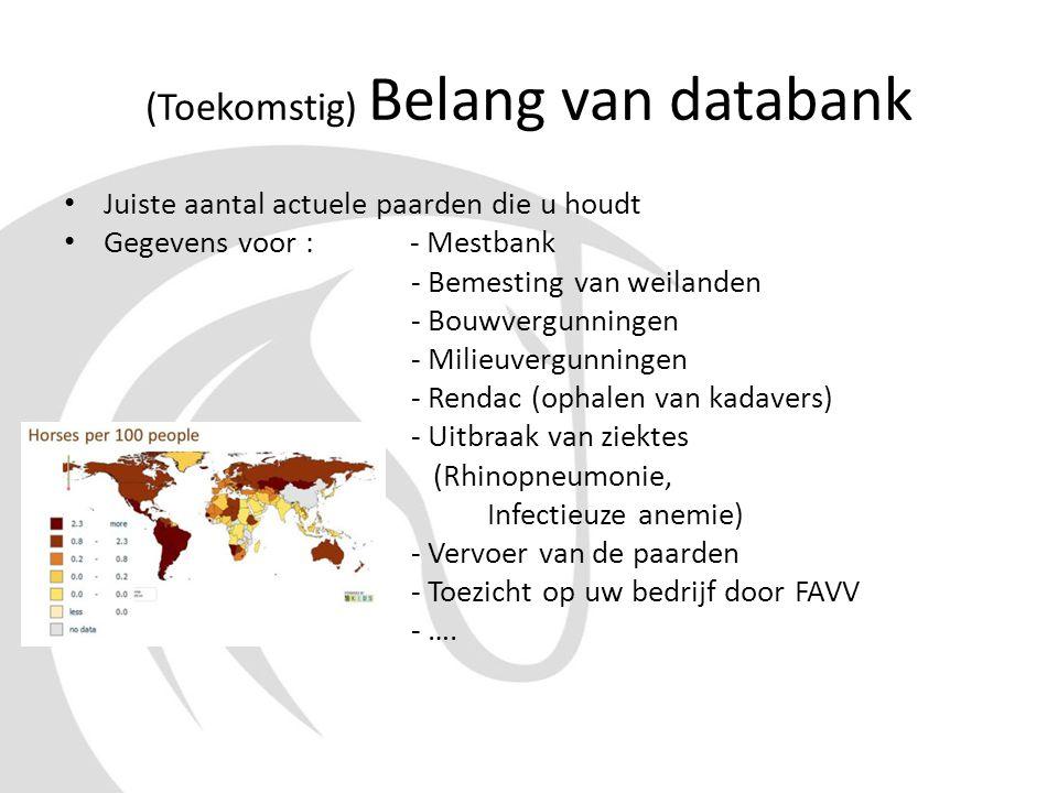 (Toekomstig) Belang van databank • Juiste aantal actuele paarden die u houdt • Gegevens voor : - Mestbank - Bemesting van weilanden - Bouwvergunningen