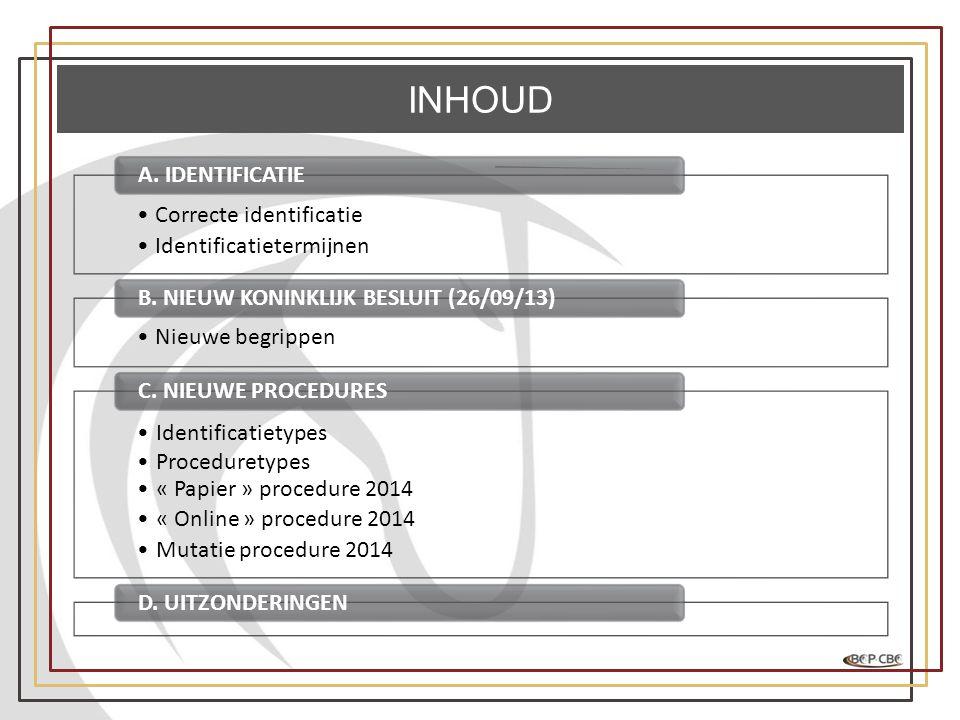 INHOUD •Correcte identificatie •Identificatietermijnen A. IDENTIFICATIE •Nieuwe begrippen B. NIEUW KONINKLIJK BESLUIT (26/09/13) Identificatietypes Pr