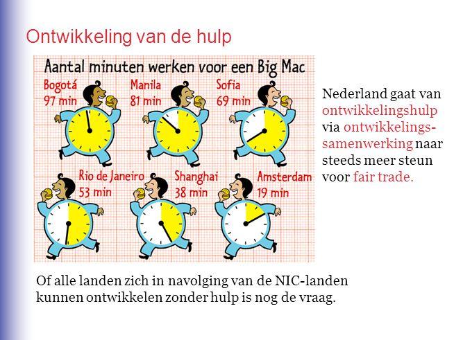 Ontwikkeling van de hulp Nederland gaat van ontwikkelingshulp via ontwikkelings- samenwerking naar steeds meer steun voor fair trade. Of alle landen z