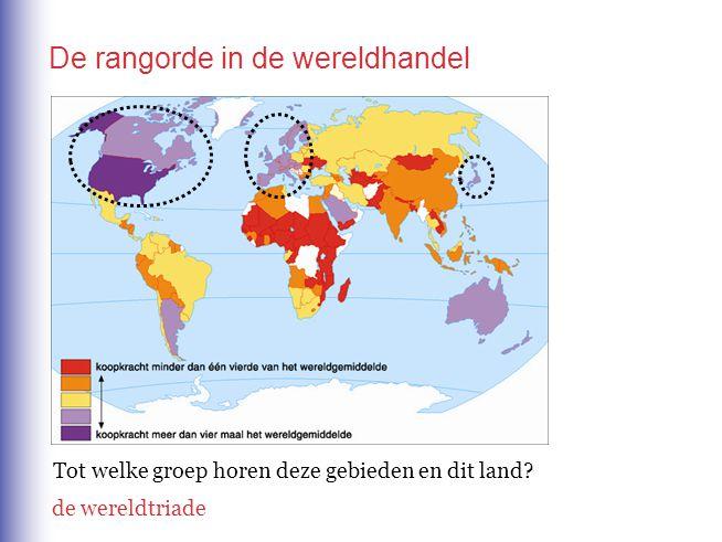 De rangorde in de wereldhandel Tot welke groep horen deze gebieden en dit land? de wereldtriade