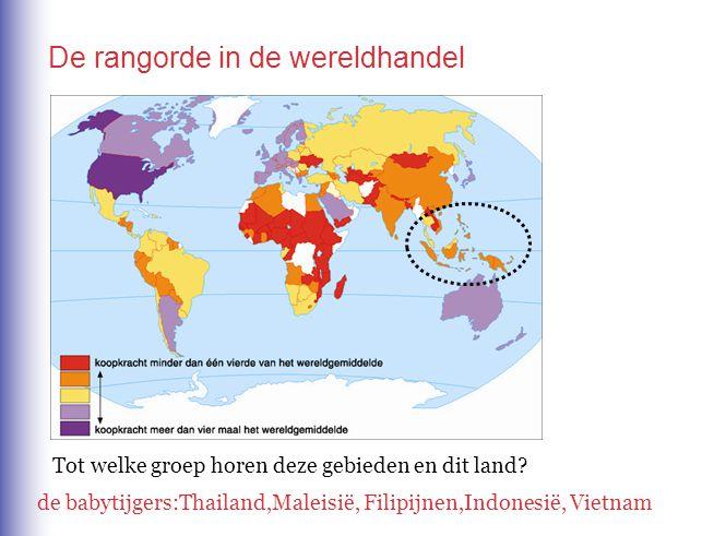De rangorde in de wereldhandel Tot welke groep horen deze gebieden en dit land? de babytijgers:Thailand,Maleisië, Filipijnen,Indonesië, Vietnam