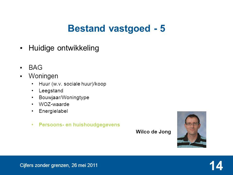 Cijfers zonder grenzen, 26 mei 2011 14 Bestand vastgoed - 5 • Huidige ontwikkeling • BAG • Woningen • Huur (w.v. sociale huur)/koop • Leegstand • Bouw