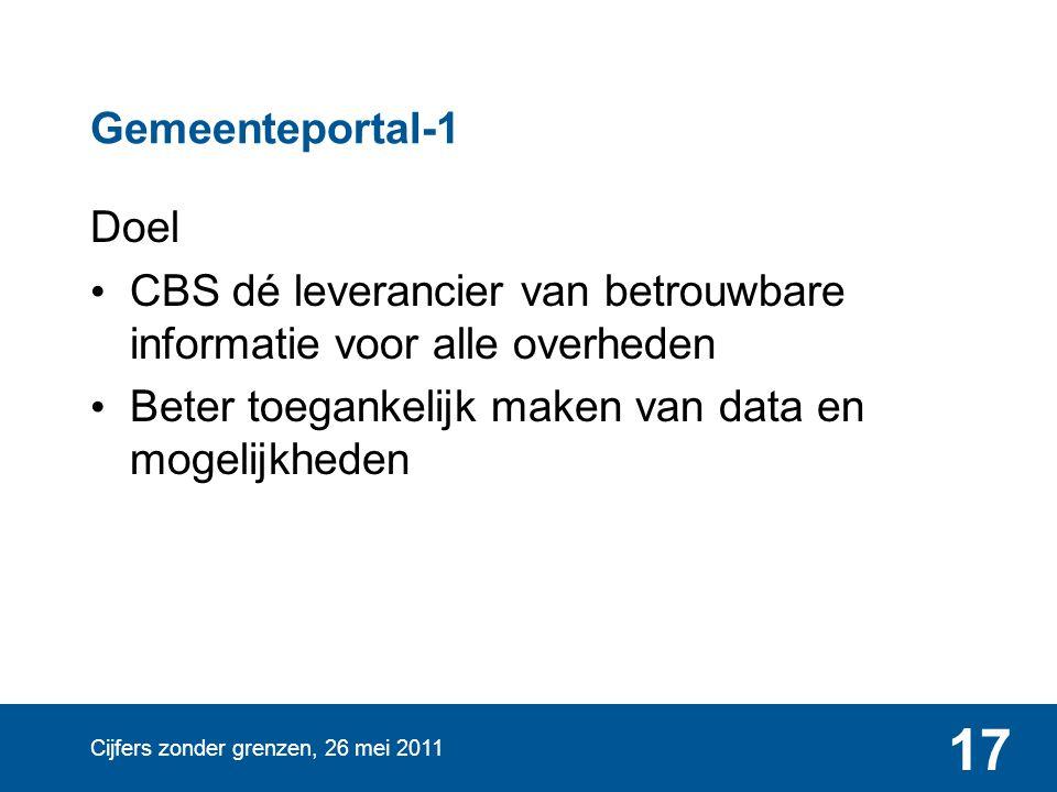 Cijfers zonder grenzen, 26 mei 2011 17 Gemeenteportal-1 Doel • CBS dé leverancier van betrouwbare informatie voor alle overheden • Beter toegankelijk