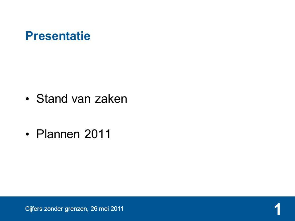 Cijfers zonder grenzen, 26 mei 2011 1 Presentatie • Stand van zaken • Plannen 2011