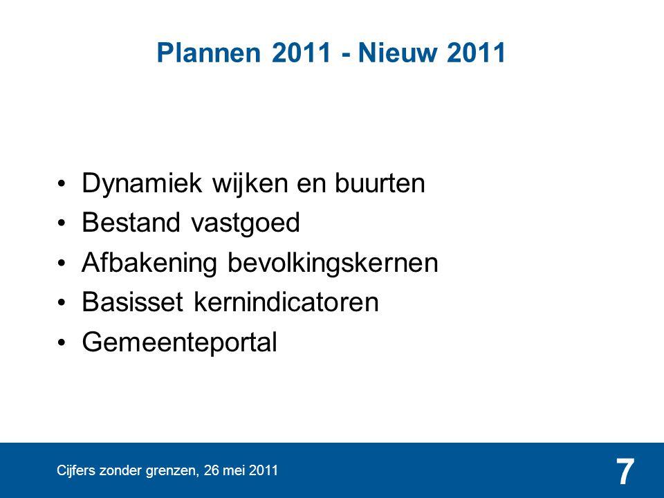 Cijfers zonder grenzen, 26 mei 2011 7 Plannen 2011 - Nieuw 2011 • Dynamiek wijken en buurten • Bestand vastgoed • Afbakening bevolkingskernen • Basiss