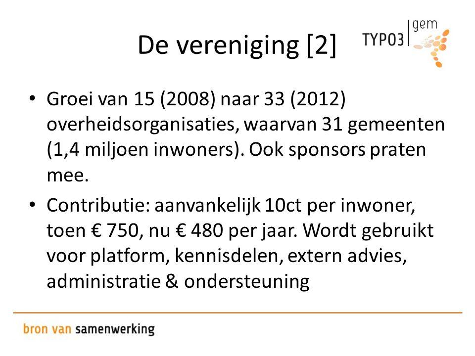 De vereniging [2] • Groei van 15 (2008) naar 33 (2012) overheidsorganisaties, waarvan 31 gemeenten (1,4 miljoen inwoners).
