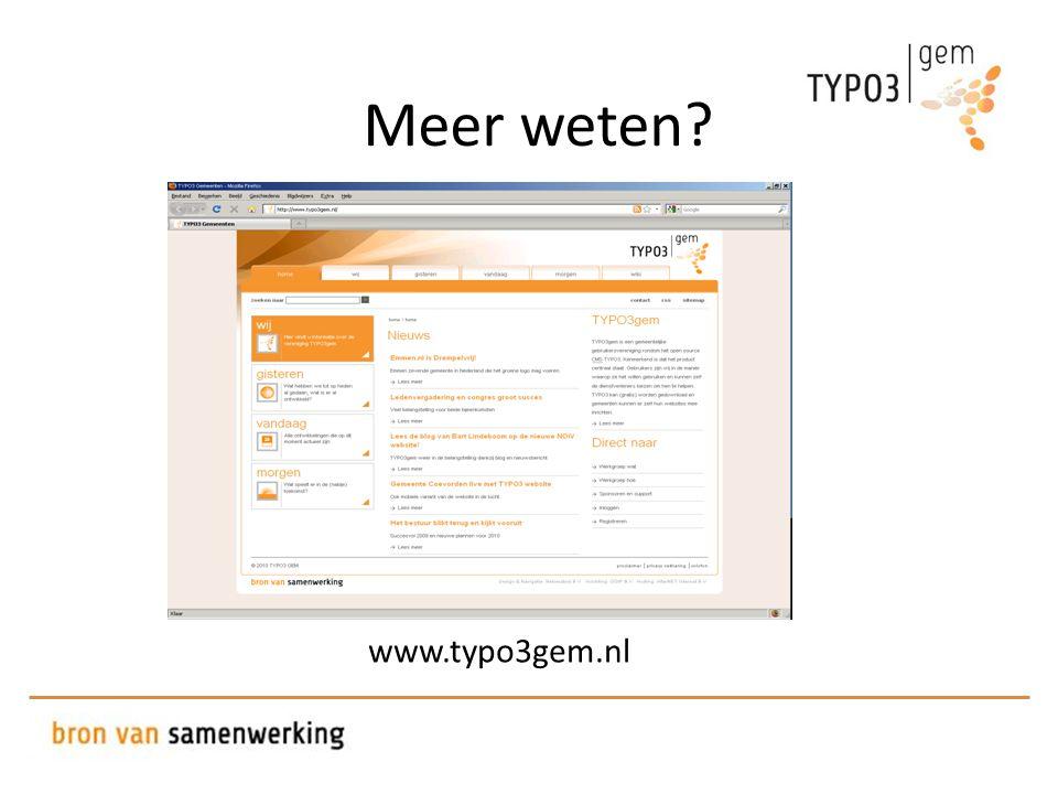 Meer weten? www.typo3gem.nl