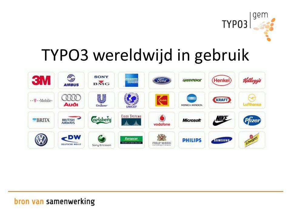 TYPO3 wereldwijd in gebruik