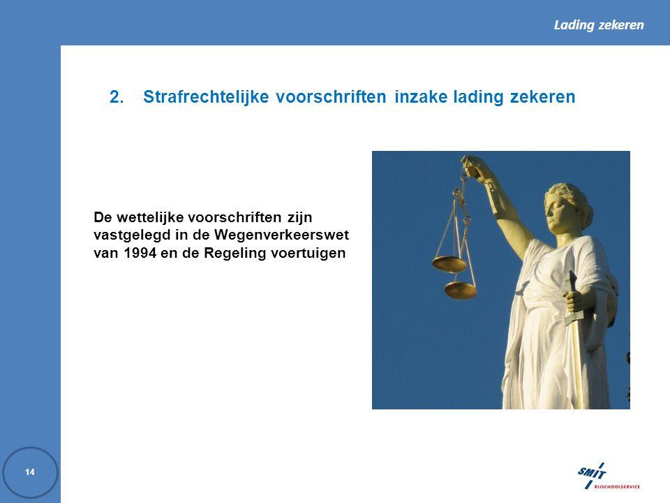Lading zekeren 14 2.Strafrechtelijke voorschriften inzake lading zekeren De wettelijke voorschriften zijn vastgelegd in de Wegenverkeerswet van 1994 e